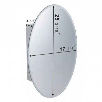 spec-<PRE>Medicine Cabinet Brushed Stainless Oval Mirror Wall Mount </PRE>