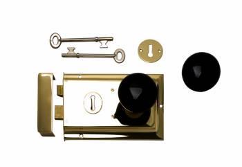 Brass-Plate Rim Latch Black Porcelain Knobs