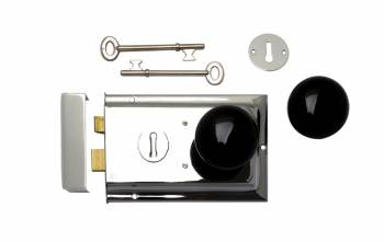 Chrome-Plated Rim Latch Black Porcelain Knobs with brass ferrule