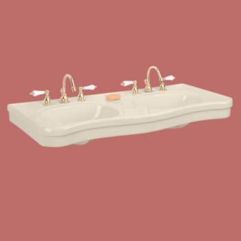 Belle Epoque Biscuit Porcelain Wall Mount Double Console Sink Porcelain Double Console Sink Glossy Console Bathroom Sink Large Bathroom Console Sink