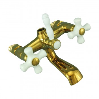 <PRE>Tub Faucet Part PVD Brass Cross Handle Porcelain </PRE>zoom3