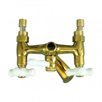 Tub Faucet Part PVD Brass Cross Handle Porcelain Bathroom Faucet Part Faucet Part Faucet Parts