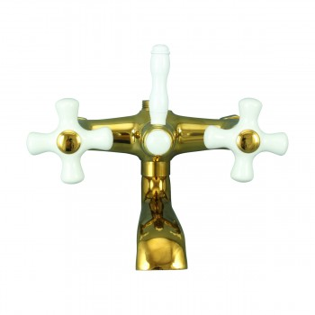 Tub Faucet Part PVD Brass Cross Handle Porcelain 13605grid
