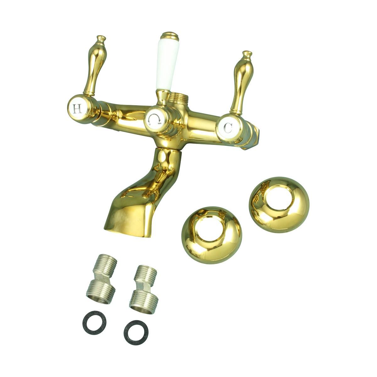 Clawfoot Tub Faucet Wall Mount Gold PVD Teardrop Levers 6 | Renovators Suppl Bathroom Faucet Part Faucet Part Faucet Parts
