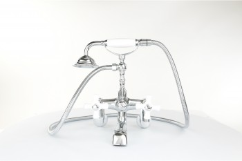 Wall mount tub faucets - Porcelain Cross Faucet, Telephone Shower Tub Wall Mount by the Renovator's Supply