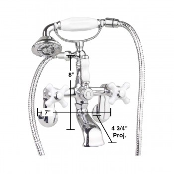spec-<PRE>Clawfoot Tub Wall Mount Faucet Telephone Shower Porcelain </PRE>
