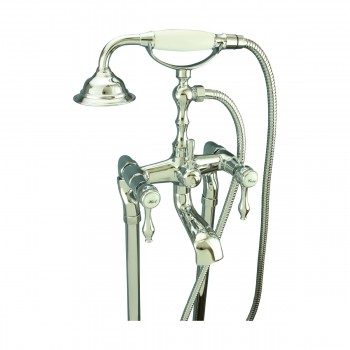 Teardrop Lever Faucet Telephone Shower Floor Mount - Tub faucets, Tub faucet info & unique accessories, quantity discounts on all Tub faucets, brass Tub faucets, chrome Tub faucets, hand-held showers, riser showers, Bath Grab Bars, bathroom fixtures,tub faucets & free shipping by Renovator's Supply.
