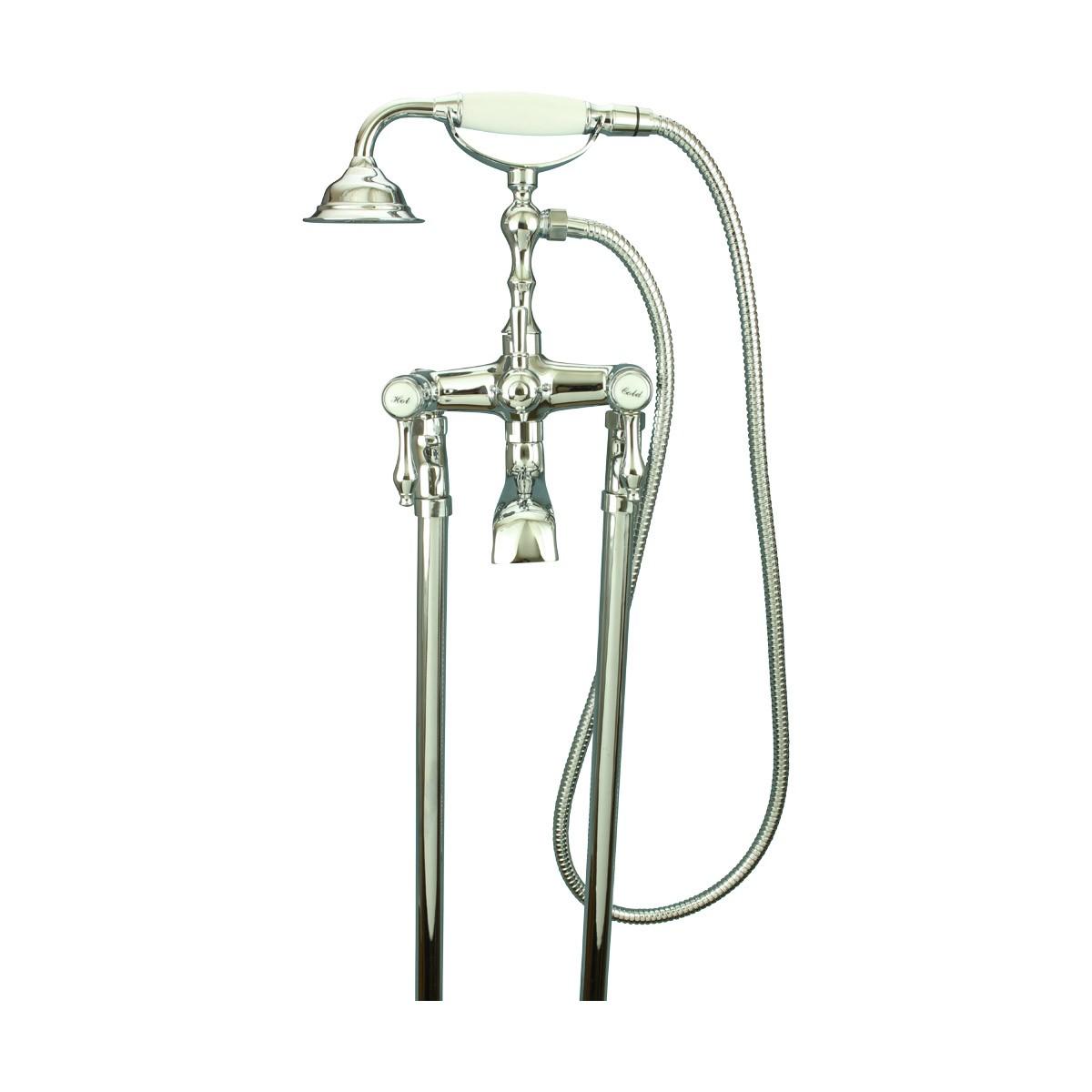Freestanding Tub Faucet and Telephone Handheld Shower Chrome Faucets Bathroom Faucets Bathroom Sink Faucet