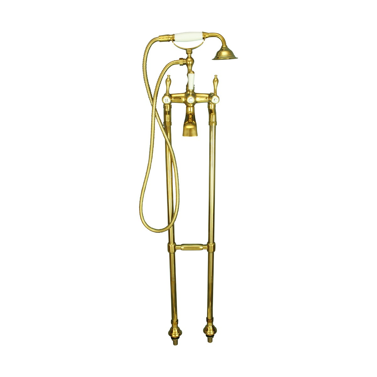 Freestanding Tub Faucet Teardrop Telephone Shower Gold PVD