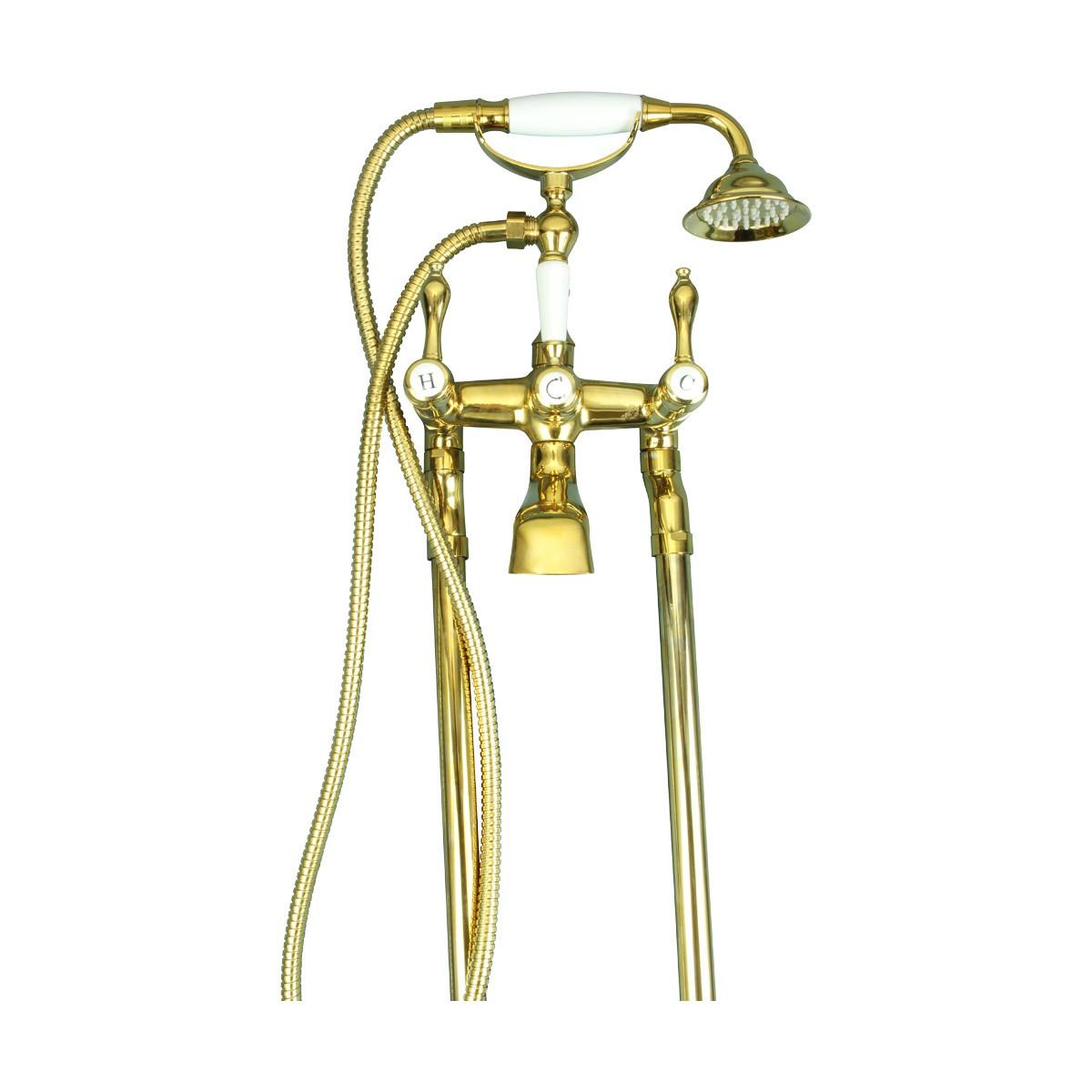 Freestanding Tub Faucet Teardrop Telephone Shower Gold PVD Tub Shower Shower Faucet Tub Shower Faucet