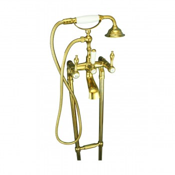 <PRE>Freestanding Tub Faucet Teardrop Telephone Shower Gold PVD </PRE>zoom6