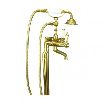 <PRE>Freestanding Tub Faucet Teardrop Telephone Shower Gold PVD </PRE>zoom8