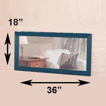 spec-<PRE>Mirror Country Blue Pine 18&quot;H X 36&quot;W Mirror Only </PRE>