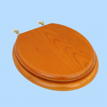 Toilet Seats - Round Toilet Seat Brass PVD Fittings Golden Oak Finish by the Renovator's Supply