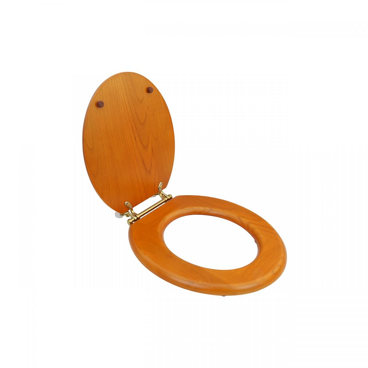 Round Toilet Seat Hardwood Golden Oak Finish Brass Hinge wooden toilet seat Toilet Seat Covers Solid Wood Toilet Seat