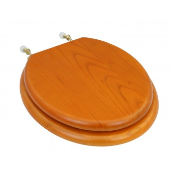 Round Toilet Seat Hardwood Golden Oak Brass Hinge