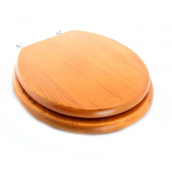 Round Golden Oak Finish Hardwood Round shape Toilet Seat, Chrome Hinge13690grid