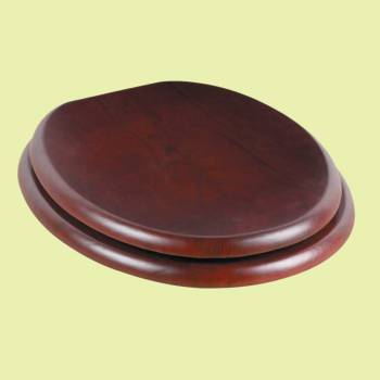 <PRE>Toilet Seat Round Hardwood Cherry Finish Brass Hinge </PRE>zoom2