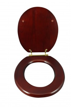 <PRE>Toilet Seat Round Hardwood Cherry Finish Brass Hinge </PRE>zoom4