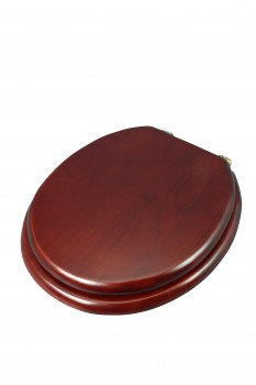 <PRE>Toilet Seat Round Hardwood Cherry Finish Brass Hinge </PRE>zoom6