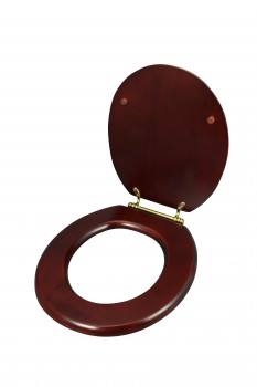 <PRE>Toilet Seat Round Hardwood Cherry Finish Brass Hinge </PRE>zoom7