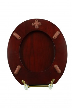 <PRE>Toilet Seat Round Hardwood Cherry Finish Brass Hinge </PRE>zoom10