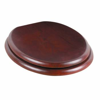 Toilet Seat Round Hardwood Cherry Finish Brass Hinge