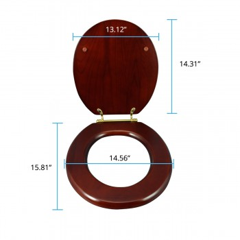 spec-<PRE>Toilet Seat Round Hardwood Cherry Finish Brass Hinge </PRE>
