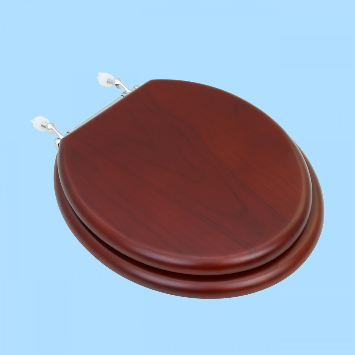 Awesome Toilet Seat Round Hardwood Cherry Finish Chrome Hinge Andrewgaddart Wooden Chair Designs For Living Room Andrewgaddartcom