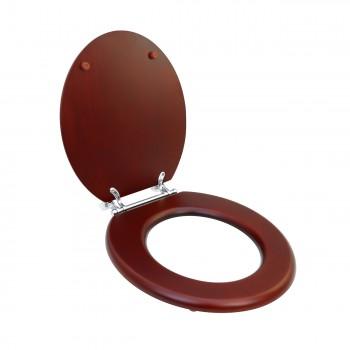Toilet Seat Round Hardwood Cherry Finish Chrome Hinge wooden toilet seats wood toilet seats wood toilet seat