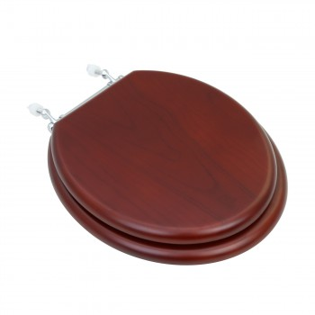 Toilet Seat Round Hardwood Cherry Finish Chrome Hinge 13693grid