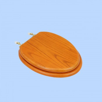 <PRE>Elongated Toilet Seat Solid Wood Golden Oak Brass PVD Hinge </PRE>