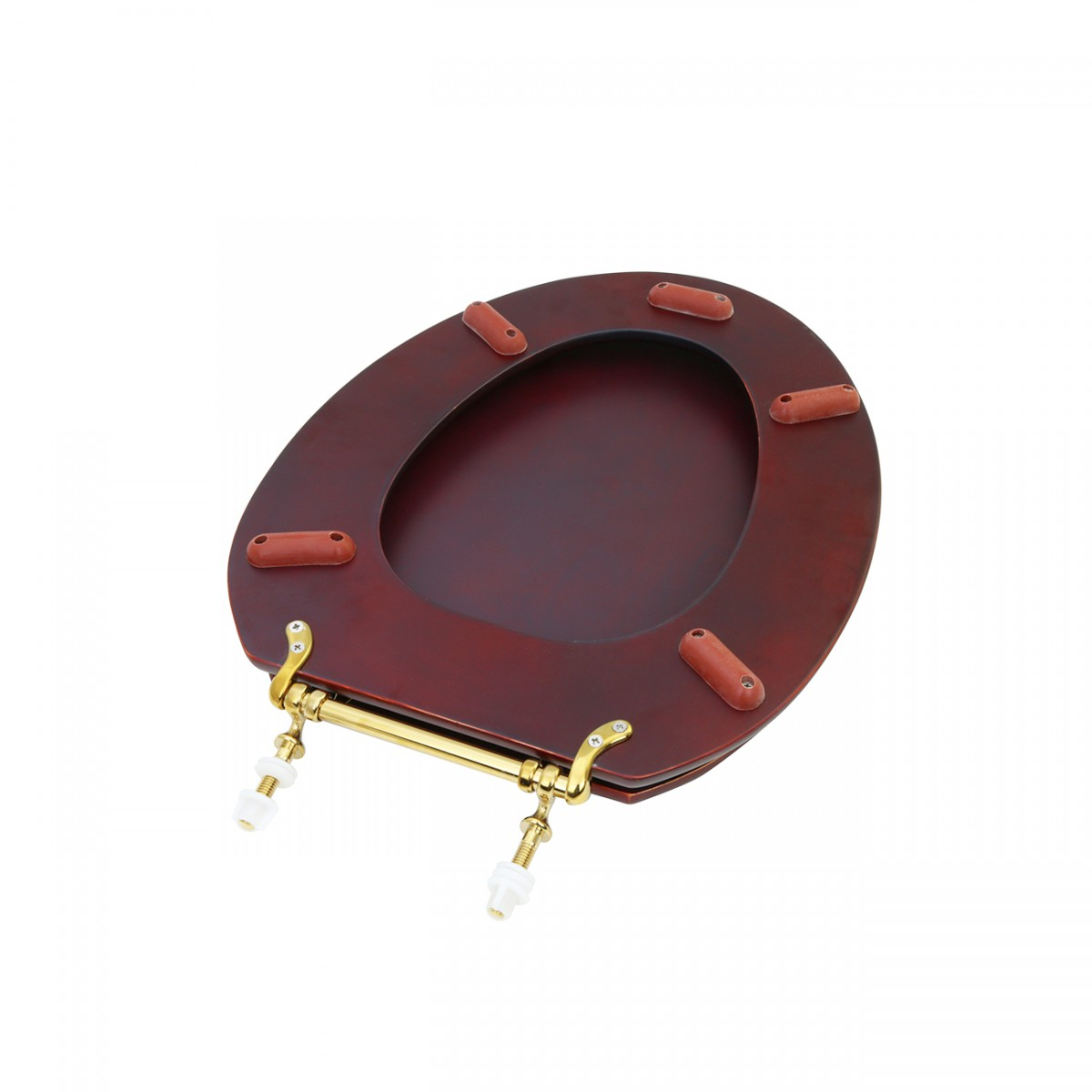 Toilet Seat Elongated Solid Wood Cherry Fin Brass Hinge | Renovators Sup wood toilet seats Cherry wood toilet seat wooden toilet seat