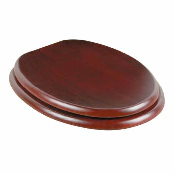Toilet Seat Elongated Solid Wood Cherry Chrome Brass Hinge