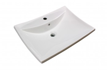 Bathroom Sink White China Deluxe Square Wall Mount 13741grid