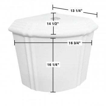 spec-<PRE>Dual Flush Corner Toilet Tank Grade A Vitreous China White</PRE>