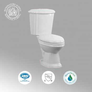 <PRE>Renovator's Supply White China Dual Flush Two-Piece Toilet Round No-Slam Seat</PRE>zoom2