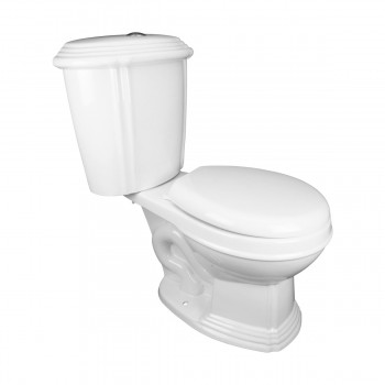 Renovators Supply White China Dual Flush TwoPiece Toilet Round NoSlam Seat