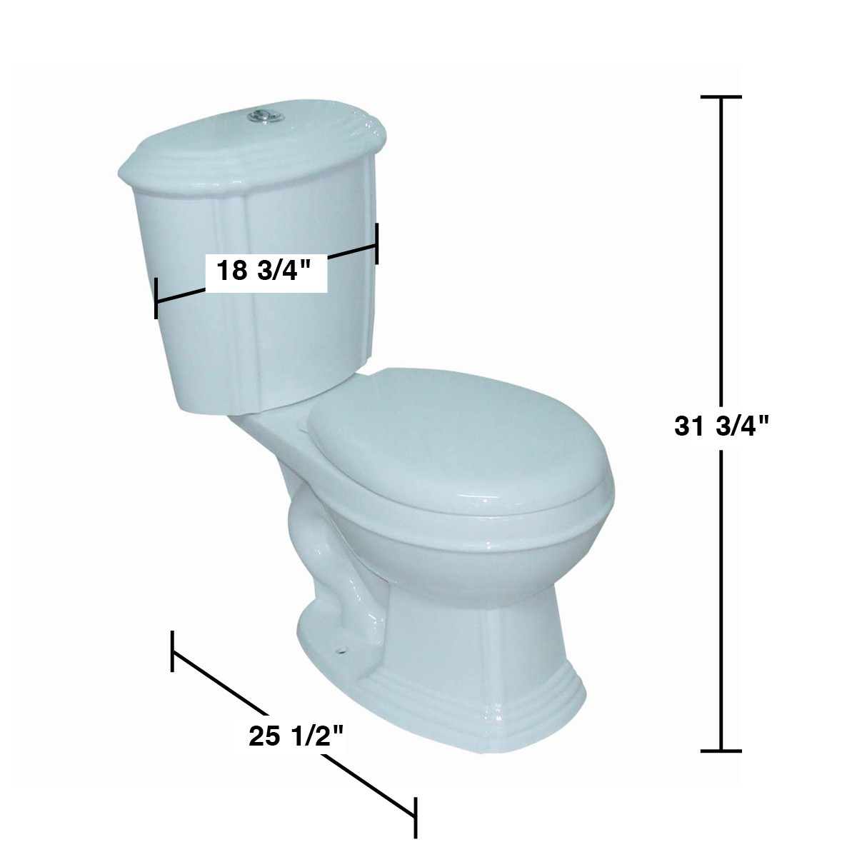 White Sheffield Round Dual Top Flush Toilet - Measures 31 3/4 inch ...