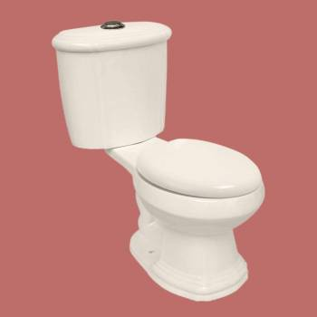 Toilets - Sheffield Toilet-Bone Dual Flush (with Chrome Top Push-button Flush) Round by the Renovator's Supply