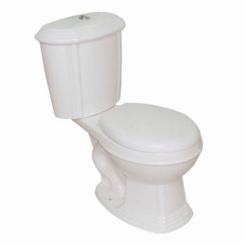 Sheffield Toilet-Bone Dual Flush (w/Chrome Top Push-button Flush) Round