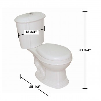 spec-<PRE>Renovator's Supply Bone China Dual Flush Two-Piece Round Corner Front Toilet</PRE>