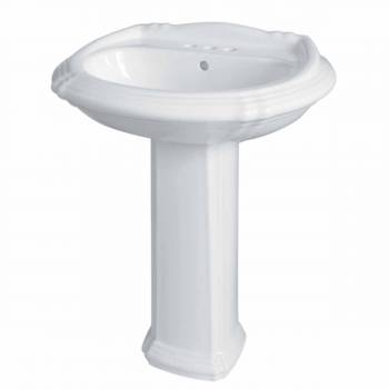 Bathroom Standalone Pedestal Sink White China Deluxe Sheffield Centerset