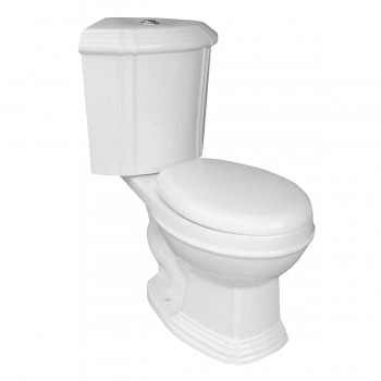 Toilets - Sheffield Dual Flush Corner Toilet White Round Bowl by the Renovator's Supply