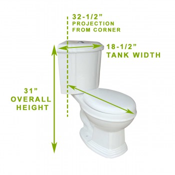 spec-<PRE>White Ceramic Corner Toilet Round Space Saving Button Dual Flush Water Saver </PRE>