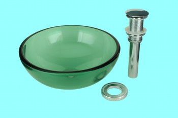 Mini Glass Vessel Sink Piccolo Green Round - Vessel Sinks by Renovator's Supply.