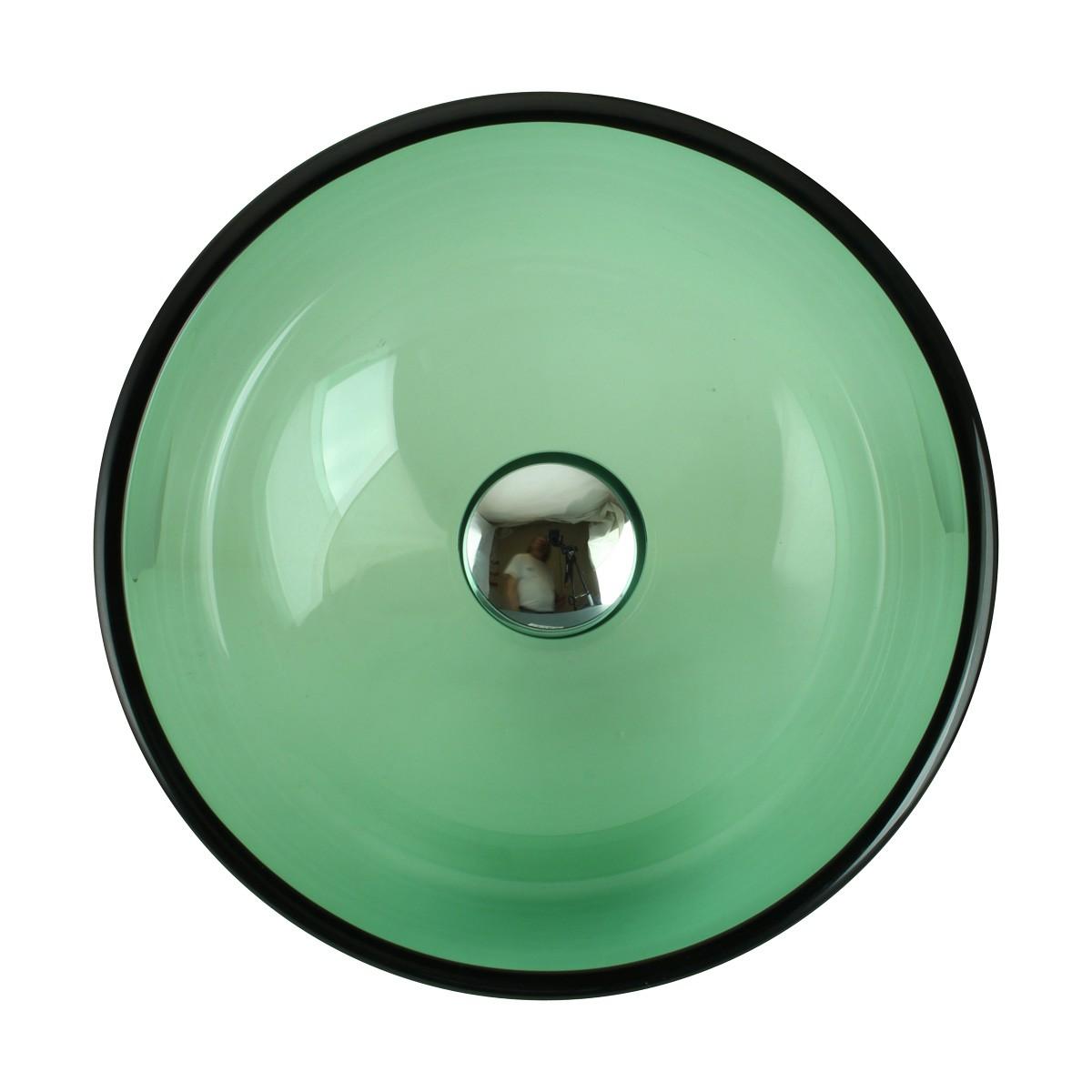 Tempered Glass Vessel Sink with Drain, Green Mini Glass Round Bowl Sink bathroom vessel sinks Countertop vessel sink Bathroom Vessel Sink