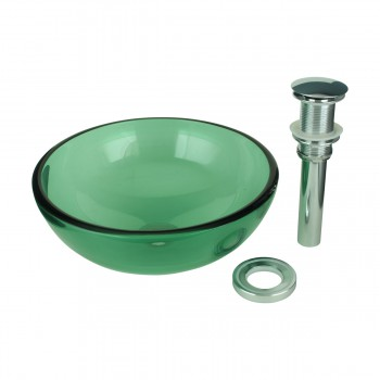 <PRE>Tempered Glass Vessel Sink with Drain, Green Mini Glass Round Bowl Sink</PRE>zoom6