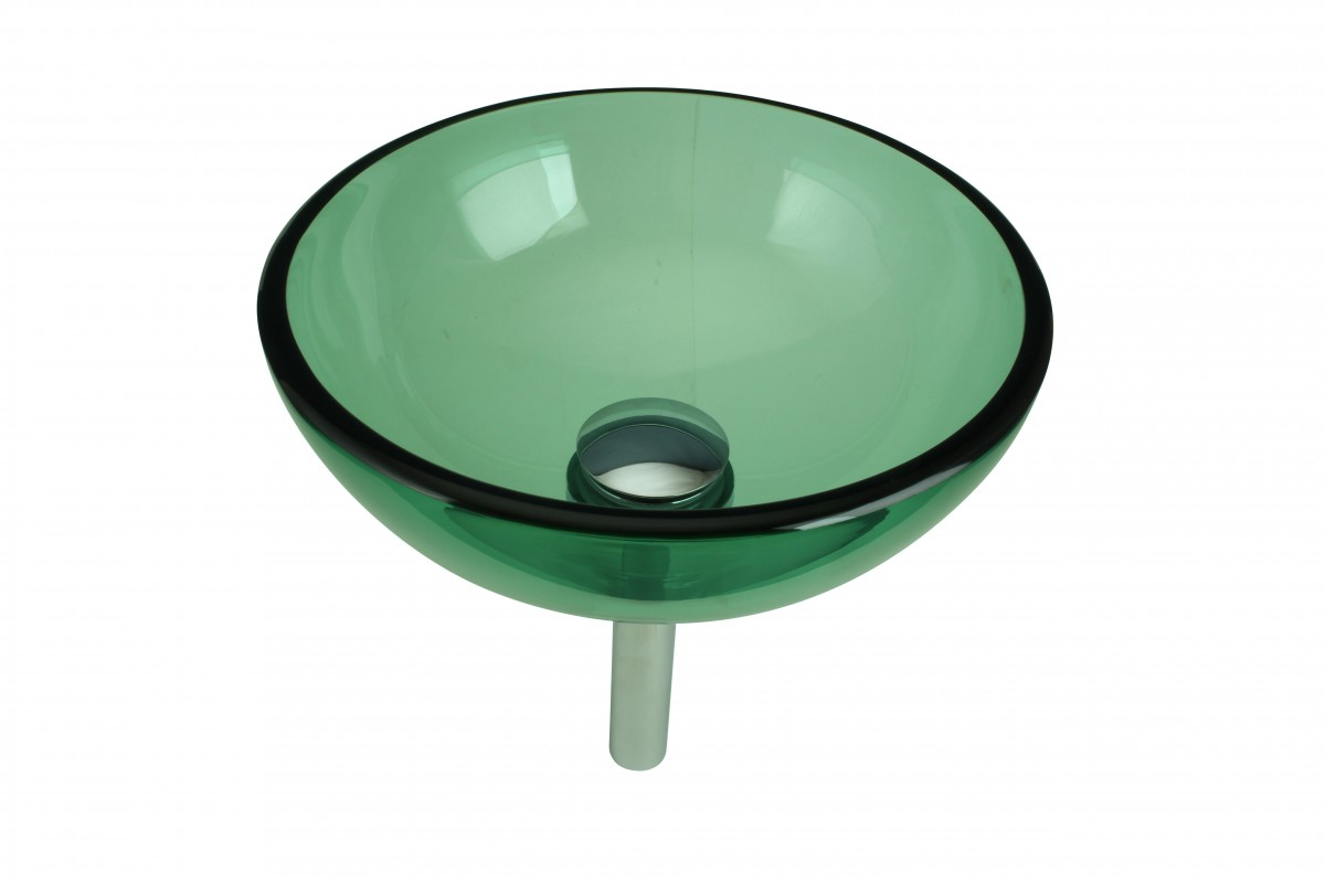 ... U003cPREu003eTempered Glass Vessel Sink With Drain, Green Mini Glass Round Bowl  Sink ...