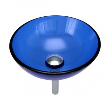 Blue Tempered Glass Vessel Sink with Drain and Mounting Ring13769grid